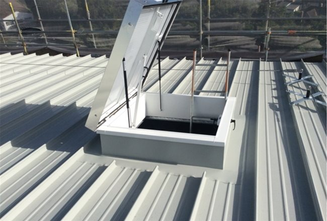 Langley - Sunningdale Court - Access hatch to completed roof.jpg